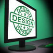 Design On Monitor Shows Creativity Artistic Designing — ストック写真