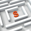 Dollar Sign In Maze Shows Dollars Credit — Stock Photo