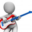 Rock Guitarist Playing Shows Music Guitar And Rocker Character — Stock Photo