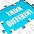 Think Different Puzzle Shows Thinking Outside the Box — Stock Photo