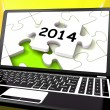 Two Thousand And Fourteen On Laptop Shows New Years Resolution 2 — Stock Photo