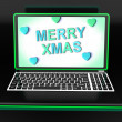 Stock Photo: Happy Xmas Message Online Shows Christmas Web Greeting