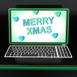 Happy Xmas Message Online Shows Christmas Web Greeting — Stock Photo #32850487