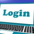 Login Computer Shows Website Log In Security — Stock Photo