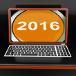 Two Thousand And Sixteen On Laptop Shows New Year 2016 — Stock Photo #32850591