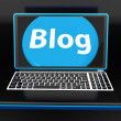 Blog On Laptop Shows Web Blogging Or Weblog Website — Stock Photo