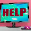 Help On Monitor Shows Helpline Helpdesk Or Support — Stock Photo