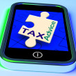 Stock Photo: Tax Advice Phone Message Shows Taxation Help Online