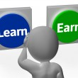 Learn Earn Buttons Show Career Or Training — Stock Photo #32850815