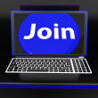 Join On Laptop Shows Subscribing Membership Or Volunteer Online — Stock Photo