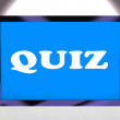 Quiz Screen Means Test Quizzes Or Questioning Onlin — Stock Photo