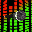 Graphic Equalizer And Microphone Shows Pop Music Soundtrack Or C — Stok Fotoğraf #32850991