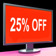 Twenty Five Percent Off Monitor Means Discount Or Sale Online — Stock Photo