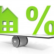 Foto de Stock  : House And Percent Sign Meaning Investment Or Discount