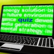 Quiz Laptop Means Tests Quizzing Or Answers Onlin — Stock Photo