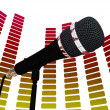 Graphic Equalizer And Mic Shows Rock Music Soundtrack Or Concert — Stok Fotoğraf #32851255
