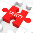 Unity Puzzle Shows Team Teamwork Or Collaboration — Stok fotoğraf