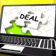 Deal Laptop Shows Trade Deals Contract Or Dealing Online — Stock Photo
