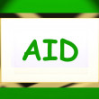 Stock Photo: Aid On Screen Shows Assist Aiding Help Or Relief