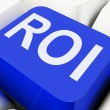 Roi Key Shows Return On Investment Or Financ — Stock Photo