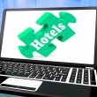 Stock Photo: Hotels Laptop Shows Motels Hotel And Room Vacancies