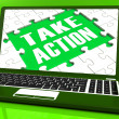 Stock Photo: Take Action Laptop To Inspire And Motivate