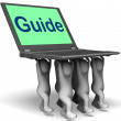 Guide Characters Laptop Shows Guidance Assistance Or Assist — Stock Photo
