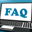Faq On Laptop Shows Solution And Frequently Asked Questions Onli — Stock fotografie #32851553