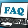 Faq On Laptop Shows Solution And Frequently Asked Questions Onli — 图库照片 #32851553