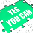 Yes You Can Puzzle Shows Inspiration Motivation And Achievement — Stock Photo
