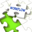 Workflow Puzzle Shows Structure Process Flow Or Procedure — Stock Photo
