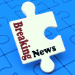 Stok fotoğraf: Breaking News Puzzle Shows Newsflash Broadcast Or Newscast