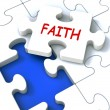 Faith Jigsaw Showing Religious Spiritual Belief Or Trust — Stock Photo #32851743