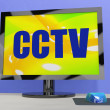 CCTV Monitor Shows Security Protection Or Monitoring — Foto Stock