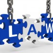 Law Puzzle Means Legally Lawful Statute Or Judicia — Stock Photo
