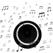 Speaker And Music Notes Shows Soundtrack Disco Or Concert — Stock Photo #32851815