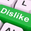 Dislike Key Means Hate Or Loath — Stock Photo