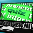 Stock Photo: Quiz Computer Means Test Quizzes Or Questions Online