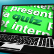 Quiz Computer Means Test Quizzes Or Questions Online — Stock Photo