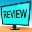 Review Screen Means Check Reviewing Or Reassess — Stock Photo