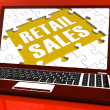 Retail Sales Laptop Shows Selling Or Sales Online — Stock Photo