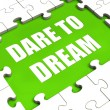 Dare To Dream Puzzle Shows Dreaming Hope And Imagination — Stock Photo