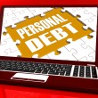 Personal Debt Laptop Shows Poverty Mortgage And Loans — Stock Photo