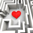 Finding Love Or Girlfriend Shows Heart In Maze — Foto Stock