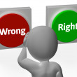 Wrong Right Buttons Show Truth Or Error — Stock Photo