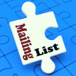 Mailing List Puzzle Shows Email Marketing Lists Online — Foto de Stock