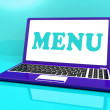 Menu Laptop Shows Ordering Food From Restaurant On Web — Stock Photo