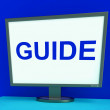 Guide Screen Shows Help Organizers Or Guidance — Stock Photo