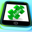 Jobs Phone Shows Unemployment Employment Or Mobile Hiring — Stock Photo #32852439