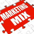 Marketing Mix Puzzle Shows Marketplace Place Price Product And P — Stock Photo #32852459